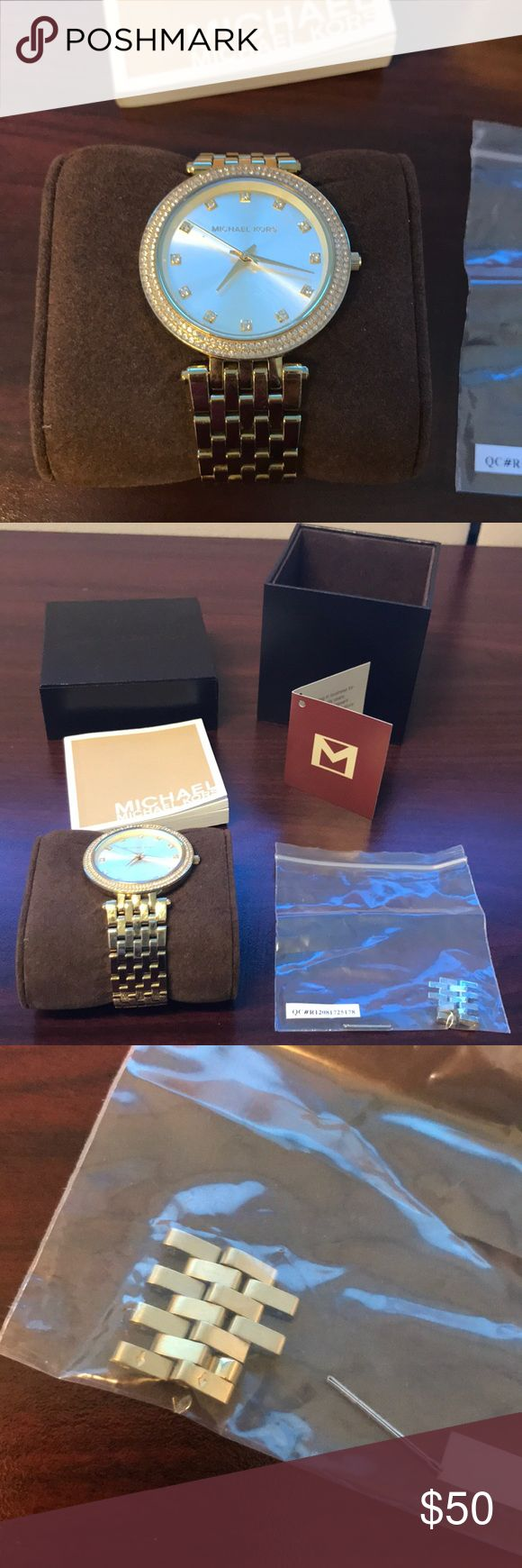 Michael Kors gold and diamond watch Great watch! There is a VERY small scratch above the 5:00 diamond. This could be buffed out at a watch shop. This is priced to sell.  Extra links included. Original box.   **bundle and save** Michael Kors Accessories Watches