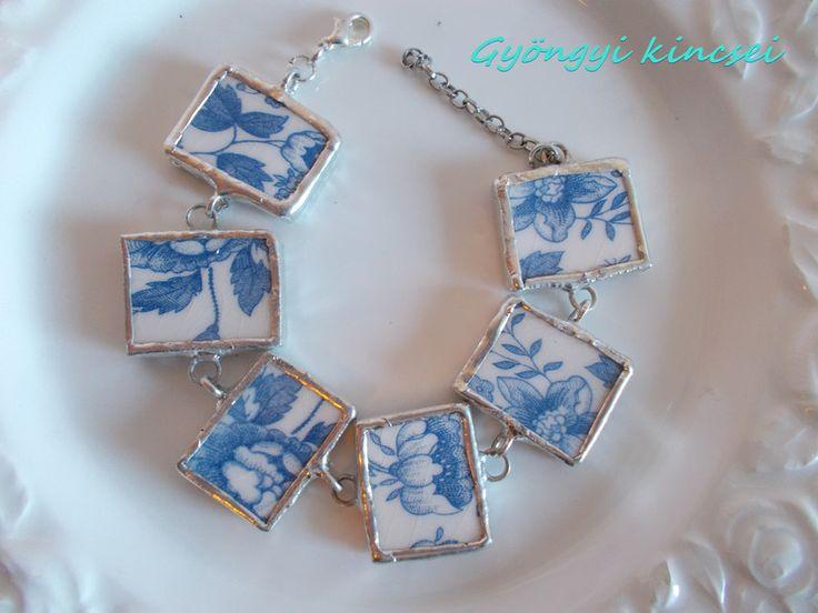 Armreife - Antik fajansz karkötő - ein Designerstück von BlueBird3 bei DaWanda