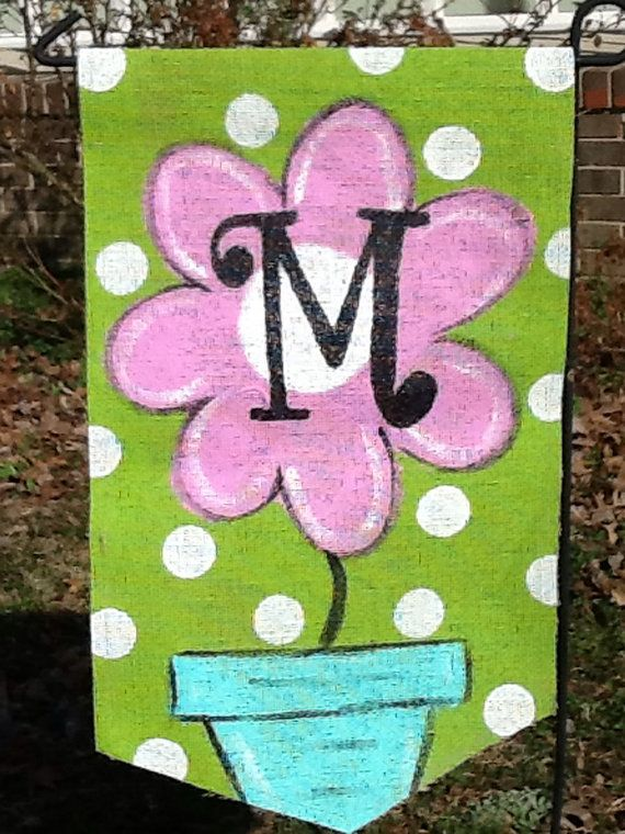 Burlap Garden Flag Flower Pot and Monogram Yard Flag Decor on Etsy, $20.00