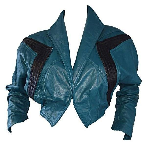 Preowned Avant Garde Kelli Kouri Leather Vintage Teal Blue + Black... ($595) ❤ liked on Polyvore featuring outerwear, jackets, green, 80s jackets, collar jacket, cropped bolero, vintage jackets and teal bolero jacket