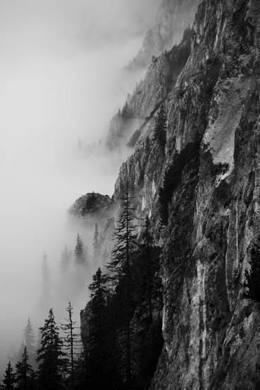 Schwarzweiss-Schattenbild der Berge. Durch gemacht von vitaliebrega.com