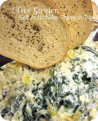 Olive Garden Hot Artichoke-Spinach Dip Copy Cat Recipe.