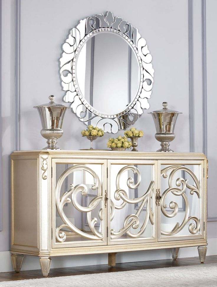 Good Jessica McClintock Couture Buffet With Stone Top Silver Leaf