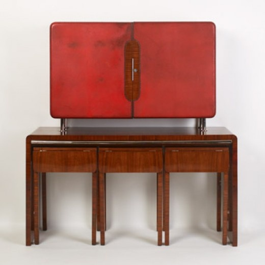 LAJOS KOZMA / Bar with Three Drop-Leaf Tables / Hungary, 1933-1934 / fruitwood, leather, glass and frosted glass, chrome-plated steel