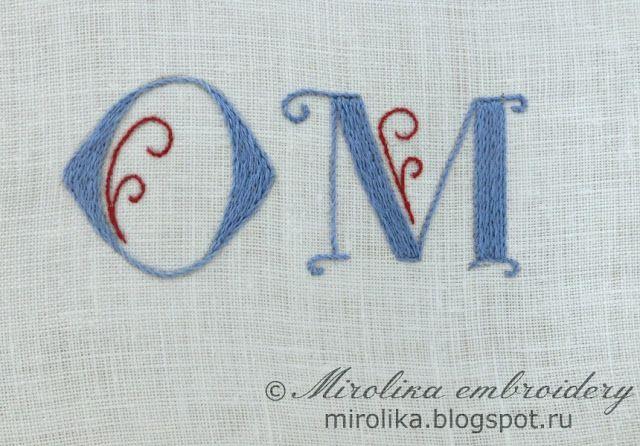 embroidery tutorials: embroider the monogram stem stitch   #mirolika #embroidery #Patternforembroidery #punto #erba #stemstitch #stitch #tutorials #embroiderytutorials