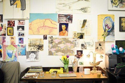 Inside Jemima Kirke's studio in Red Hook, Brooklyn.