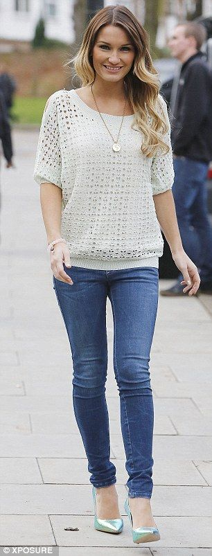 Sam Faiers.. sweet n' chic - Skinny jeans, Silvian Heach open shoulder top in mint green at Minnie's Boutique, and Schuh holographic heels..
