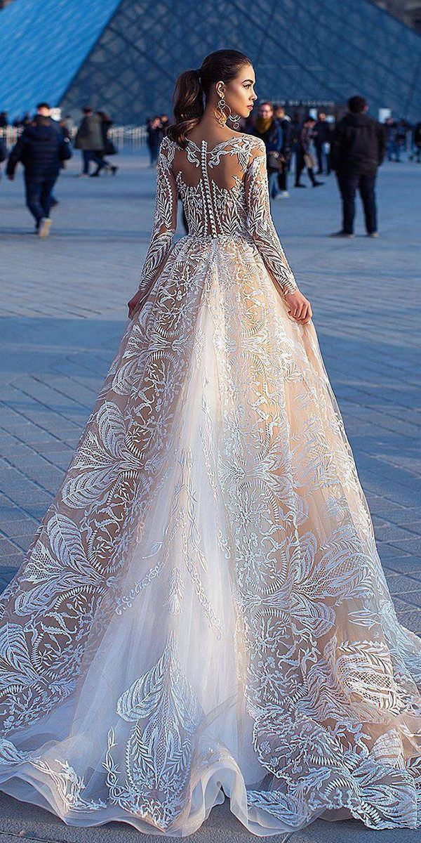Top 24 Wedding Dresses For Celebration ❤ ball gown wedding ideas part 2 with llusion long sleeves blush lorenzo rossi ❤ See more: http://www.weddingforward.com/wedding-ideas-part-2/ #weddingforward #wedding #bride