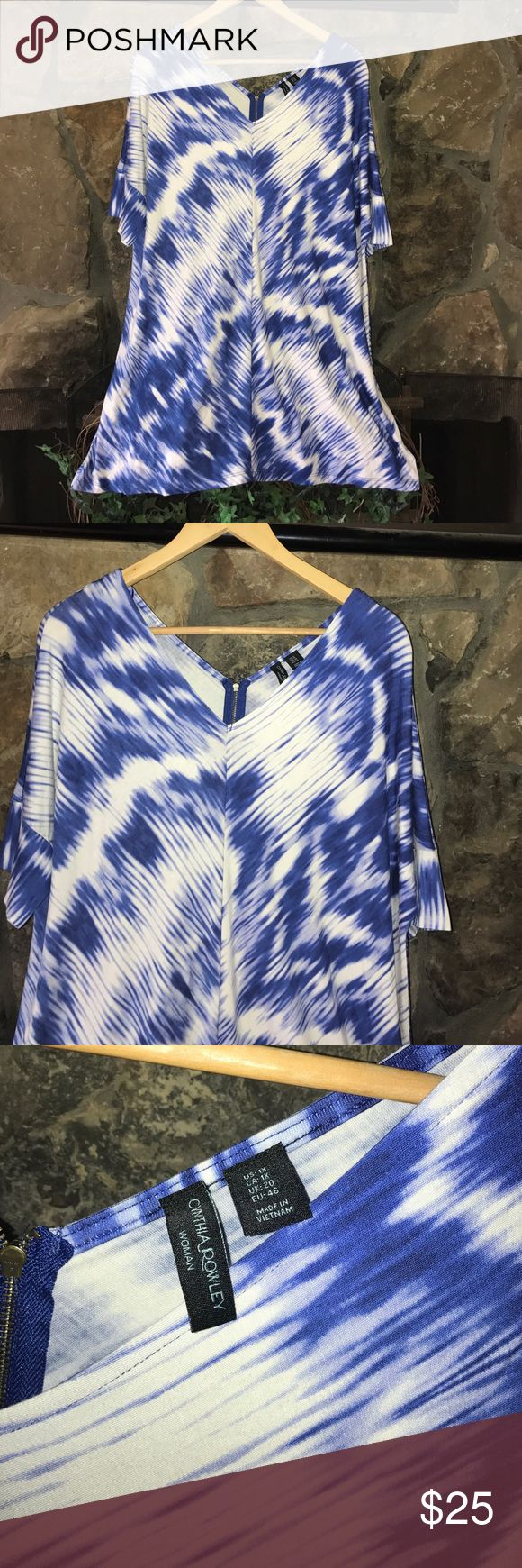 🌊Cynthia Rowley Tie-Dye Tunic🌊 This is a blue and white tie-dye tunic V in the back and front and back zipping seam down the front and back for added definition. Would be beautiful with pencil skirt or jeans or leggings. 32 inches in length. Lot of stretch and give. 95% rayon 5% spandex machine washable. Cynthia Rowley Tops Tunics