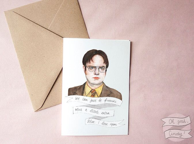 dwight schrute greeting card watercolor the office valentines day by ohgoshcindy on etsy https
