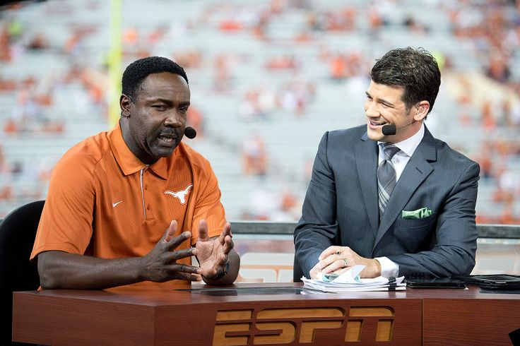 Jerry Gray visits with Lowell Galindo on the Longhorn Network All-Access set. Gray was recognized at the game for his induction into the National Football Foundation's College Football Hall of Fame. Gray is the Longhorns' 17th student-athlete and 19th overall inductee.