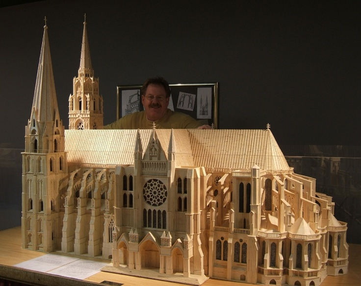 Pat Acton and matchstick model of Chartres Cathedral made ...
