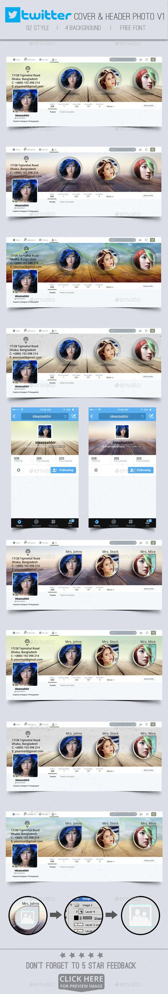Twitter Covers & Header Pack V01 This is a great pack of modern, stylish and corporate twitter header images that can be use as a