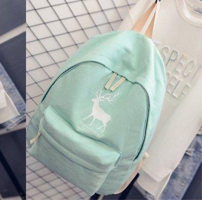 Fashion Women Animal Canvas Backpack Cute Lady Deer Shoulder Bag Travel Cartoon Satchel Girl Pint Rucksack