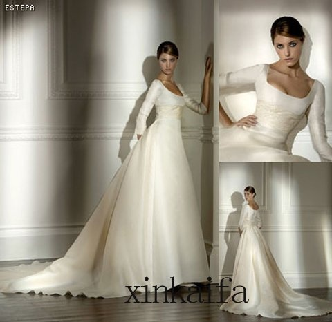 Ivory Long Sleeve Wedding Dress Bridal Wedding Gown *Number 14037*-in Wedding Dresses from Apparel & Accessories on Aliexpress.com
