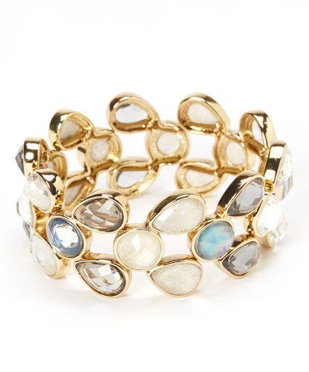Gold Mother-of-Pearl Garbo Stretch Bracelet