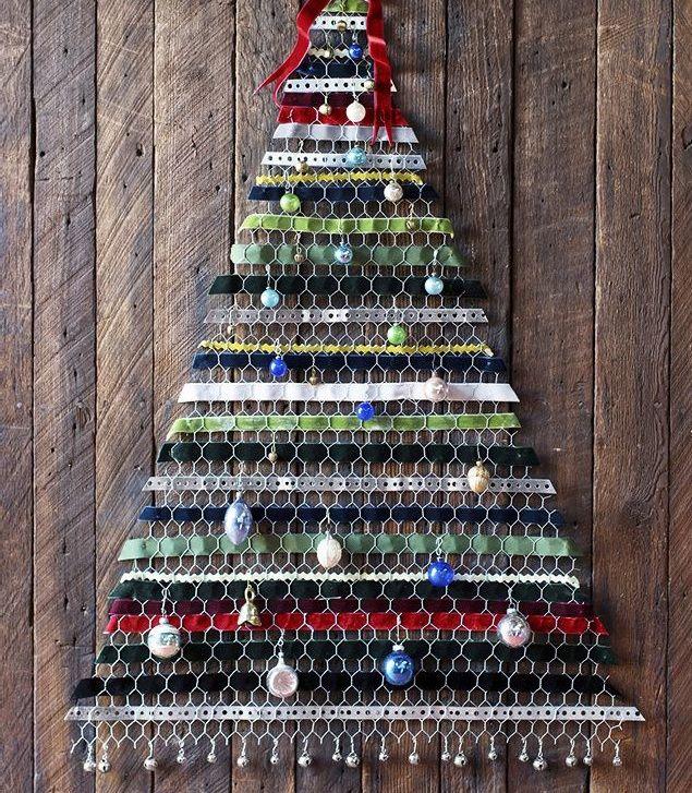 Albero di Natale da muro: RICICLANDO!   Ebbene sì è tempo di pensare alle decorazioni natalizie. Per lo meno ai fondamentali: lalbero di Natale. Se come me avete una casa piccola e vi piace cimentarvi ogni anno in una rivisitazione del classico albero verde ecco una proposta di albero da muro diversa e riciclosa. E facile da realizzare e se avete ritagli di passamaneria e nastri vari decisamente economica. Procuratevi della rete metallica esagonale. Scegliete quella per le gabbie di uccelli…