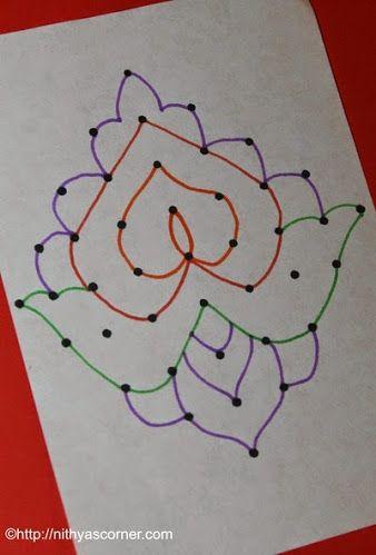 Flower Kolam | 9 to 1 Dots | Easy Flower Kolams » Nithya's Corner