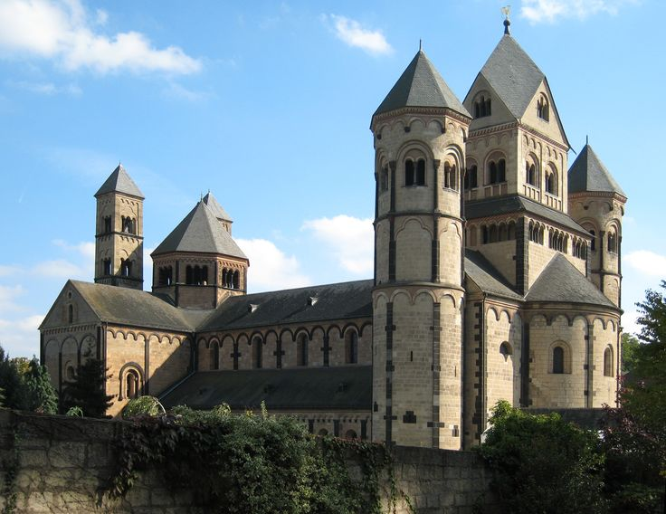 Maria Laach Abbey, (Abtei Maria Laach). Built in 1093 in Rhineland, Germany. Benedictine abbey with German Romanesque architechture.
