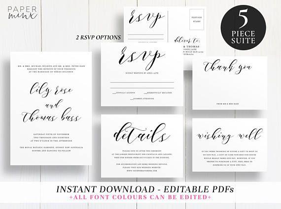 Editable Wedding Suite Template  Printable  Template