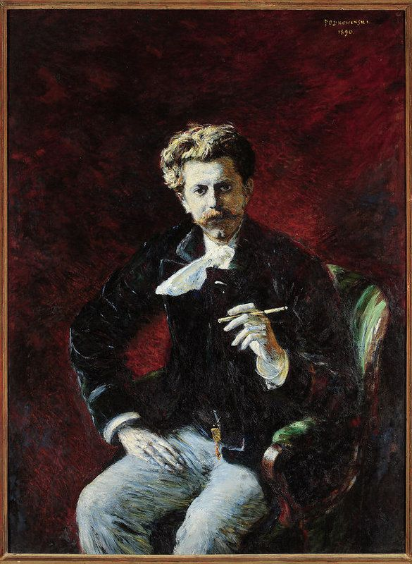 Władysław Podkowiński -Portret Czesława Jankowskiego  , Czesław Jankowski (1857-1929), poeta, literat, krytyk literacki i artystyczny, publicysta, historyk, krajoznawca, działacz społeczny  Zaprzyjaźniony z Podkowińskim, sam był malarzem amatorem. Okazały portret Jankowskiego, siedzącego w swobodnej pozie, z papierosem w ręce, należy do tej grupy obrazów Podkowińskiego, których prezentacja w Warszawie wywołała ostrą polemikę prasową wokół impresjonizmu.
