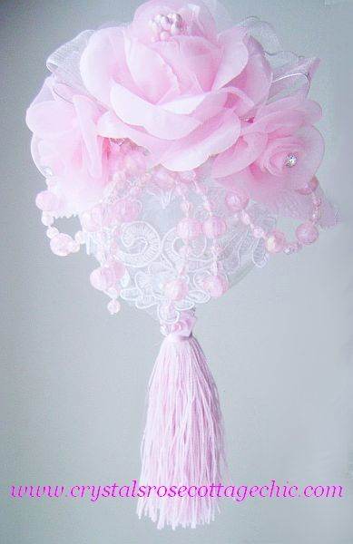 Pink Victorian Rose Lace Ornament