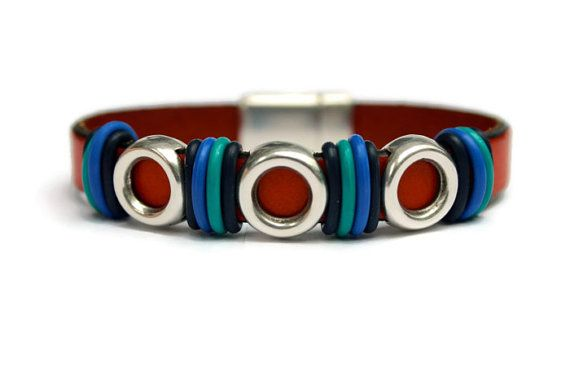 Unisex Leather Bracelet Flat Leather by PepperPotLeatherShop, $42.99