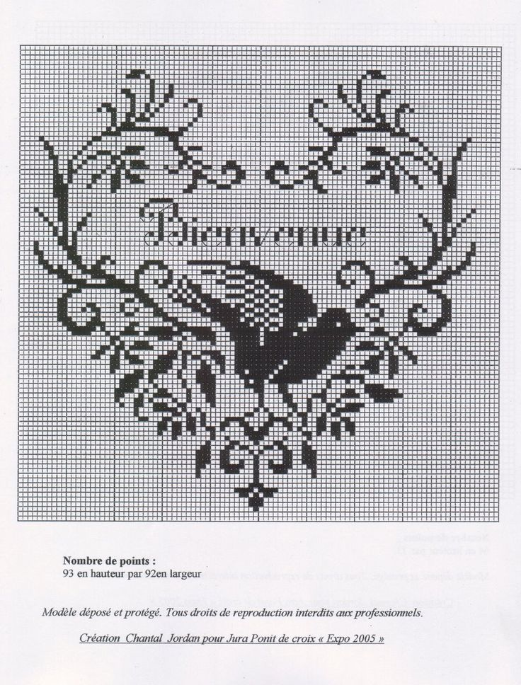 French Cross Stitch Bird in Heart Welcome Bienvenue