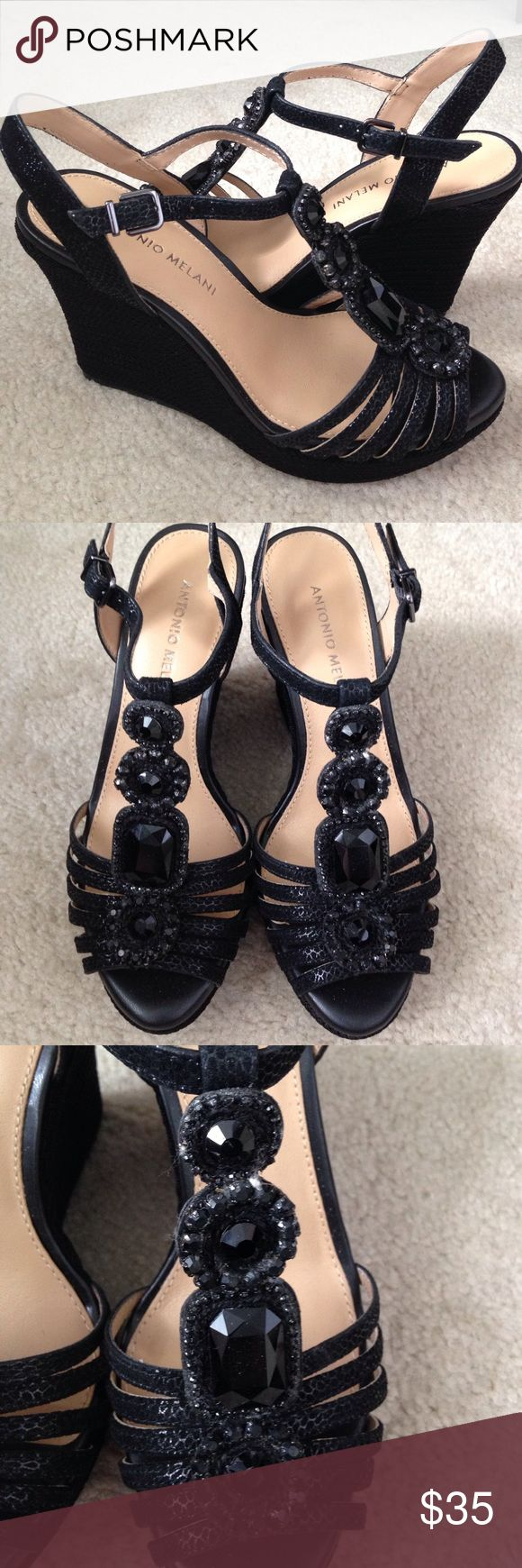 New Antonio Melani black wedge platform shoes, 6.5 New Antonio Melani black wedge platform shoes, 6.5M, perfect condition. No box, never worn. 4 inch heel, 1.5 platform ANTONIO MELANI Shoes Wedges