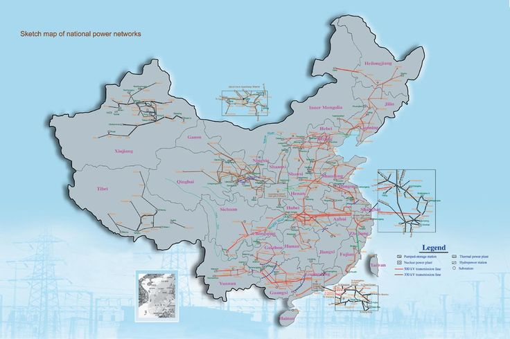 Chinese Electric Power Grid Network - HVAC Transmission - HVDC Transmission