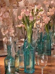festa 15 anos azul tiffany - Garrafas vidro decoracao
