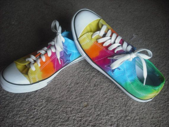 Groovy!      Tie dye Converse One Star Shoes by DoYouDreamOutLoud on Etsy, $52.00