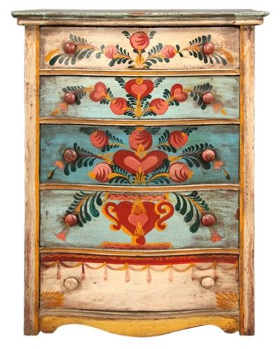 PETER HUNT CHEST PAINTED HIGH CHEST OF DRAWERS MARKED ANNO DOMINI '49 - Awesome way to tie colours in together