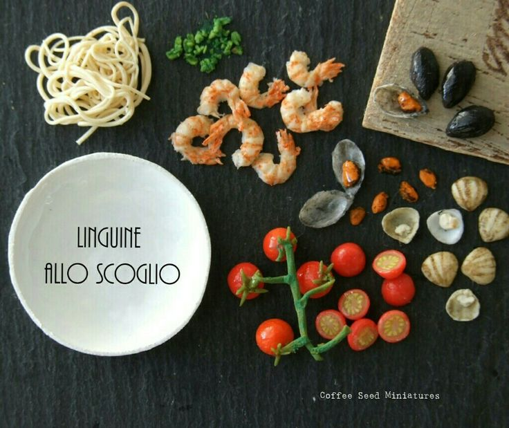 Miniature polymer clay seafood and pasta