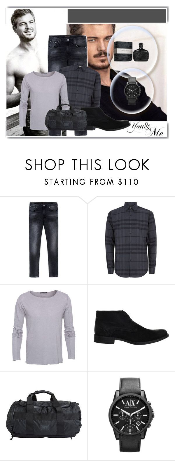 """""""Eric Dane"""" by cindy-for-fashion ❤ liked on Polyvore featuring Nudie Jeans Co., Burberry, Hannes Roether, Hush Puppies, Burton, John Varvatos, Armani Exchange, WALL and White Label"""