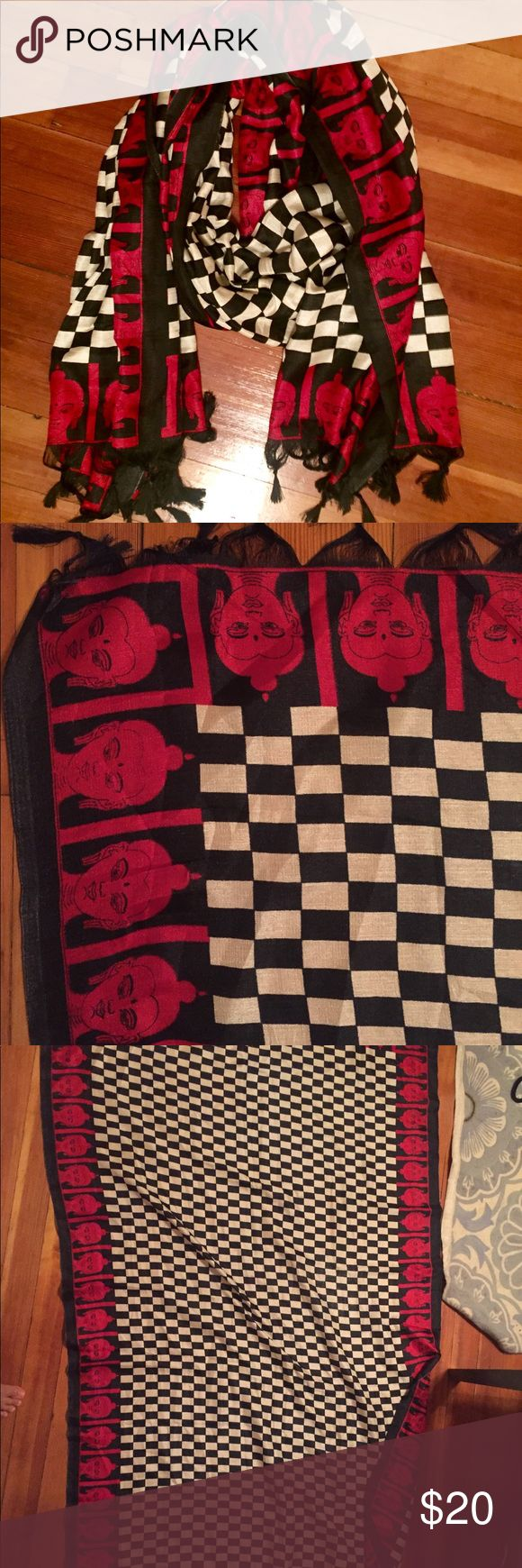 NWT Silk Scarf - Red, White, Black Buddha Print This silk scarf measures 4 ft by 7 ft when laid out. Red buddhas outline the scarf, the center is a black and white checkered print. Tassels line both ends. Never worn!! Accessories Scarves & Wraps