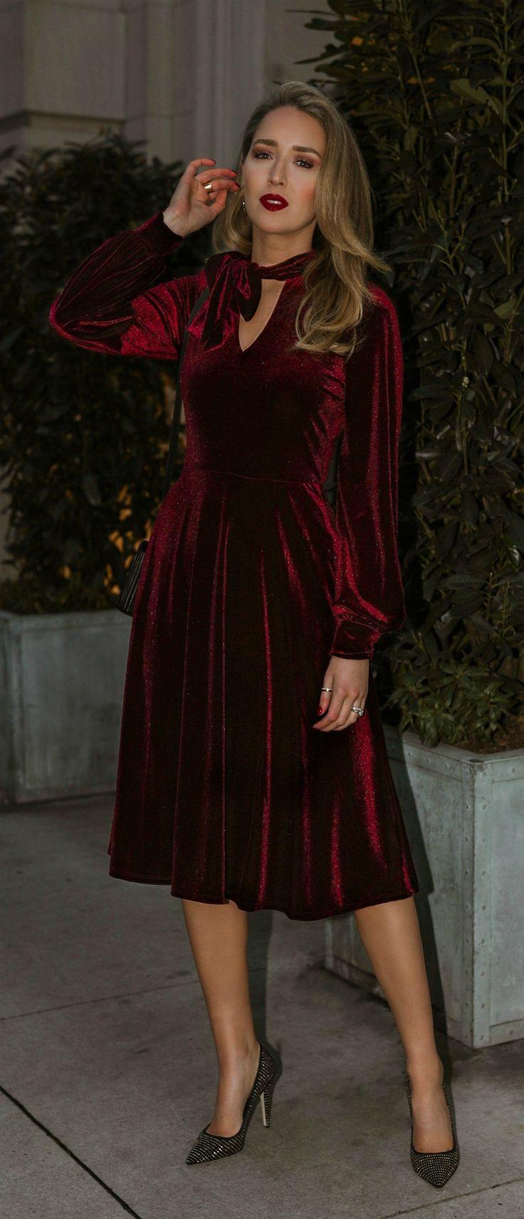 Click For Outfit Details Burgundy Velvet A Line Dress