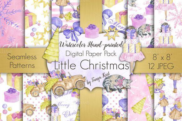 Little Christmas Digital Paper Pack by Tanya Kart on @creativemarket