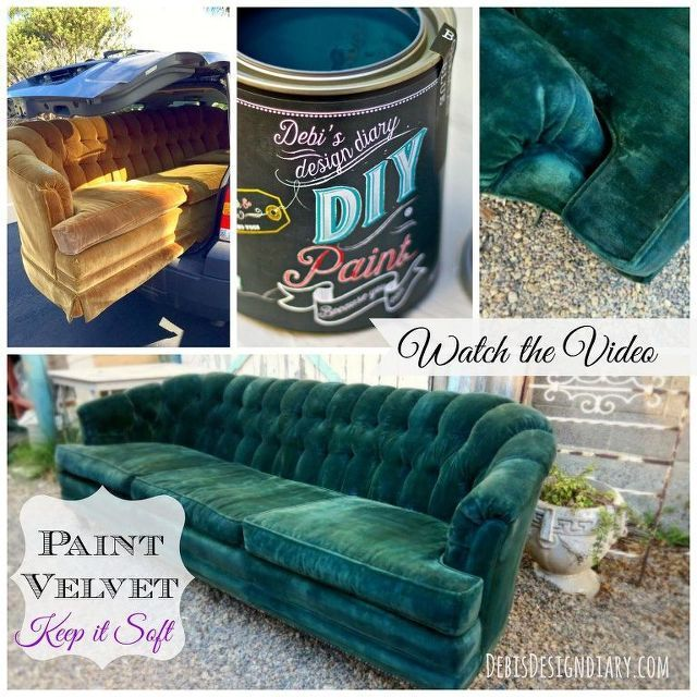 How To Paint Upholstery And Keep The Fabric Soft Even Velvet Fabric Paint Soft Upholstery Velvet In 2020 Painting Fabric Furniture Paint Upholstery Painted Sofa
