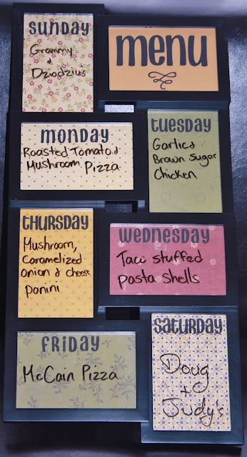 Weekly Meal Planning Frame! Love this!