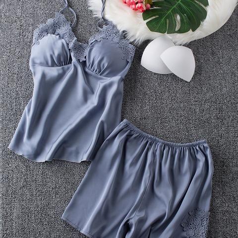f3a73d796d Ladies Sexy Silk Satin Pajama Set Lace Pyjama Set Sleeveless Pijama Set  V-neck Sleepwear