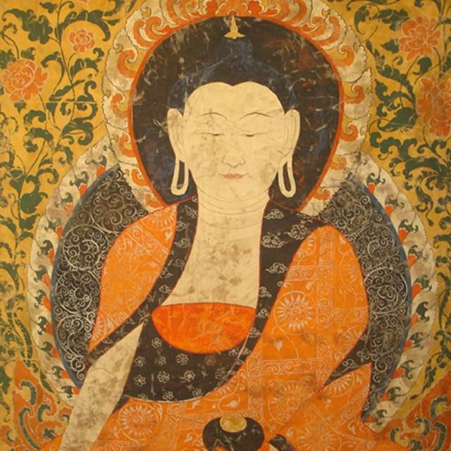 Watercolor scroll painting from Tibet portraying Amitabha, a celestial Buddha described in the scriptures of the Mahayana school of Buddhism.