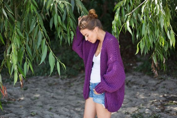 Pure Chunky Cardigan  Wild Berry  Oversized Sweater by Nudakillers