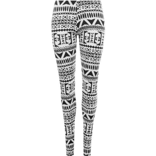 Franny Aztec Print Leggings ($12) ❤ liked on Polyvore featuring pants, leggings, multi, aztec pants, white legging pants, stretch leggings, stretch pants and white trousers