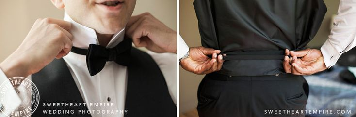 Groom doing up his bowtie and tuxedo. Toronto Wedding Photography #sweetheartempirephotography
