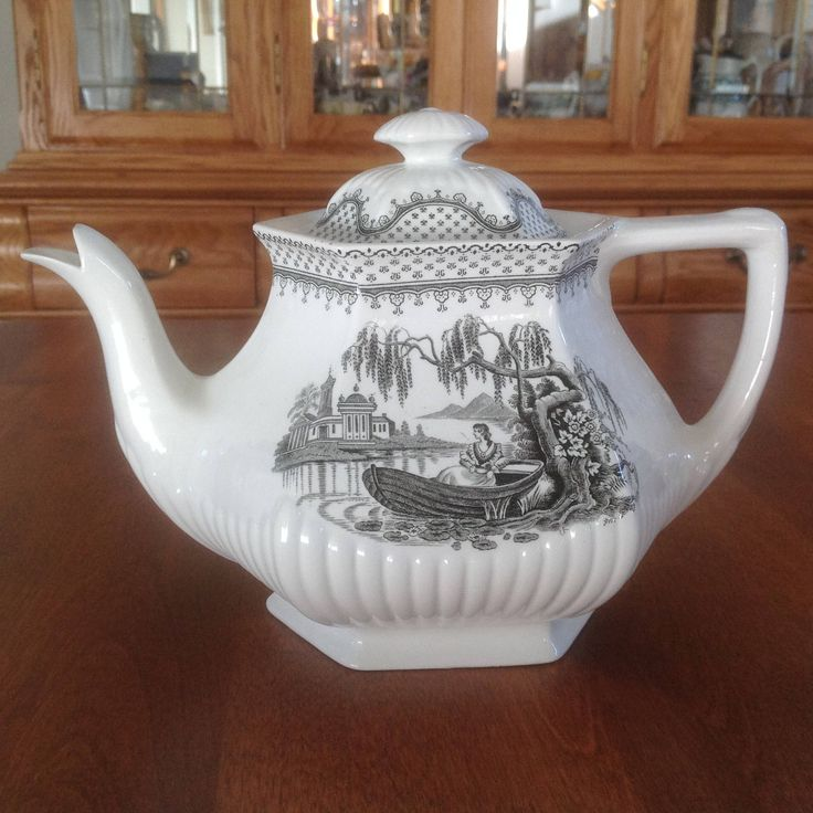 Wm Adams & Sons MINUET Black Empress Teapot and Lid - Romantic Water Center Scene Lady in Boat - Black and White Transferware by BucketListGarnishes on Etsy