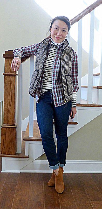 #jcrew vest shirt #oldnavy t-neck #bananarepublic jeans #carlossantana boots