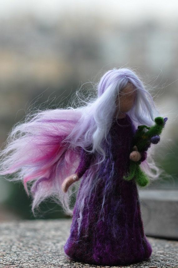 Needle Felted Waldorf Wool FairyLilac fairy by darialvovsky, $48.00