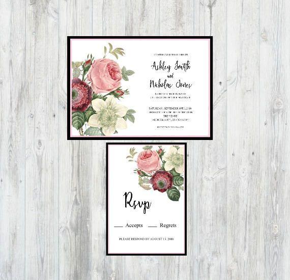 Floral Wedding Invitation, Flower Wedding Invitation, Printable Wedding Invitation, Botanical Wedding Invitation, Wedding Invitation Set by FarahLynnDesign on Etsy