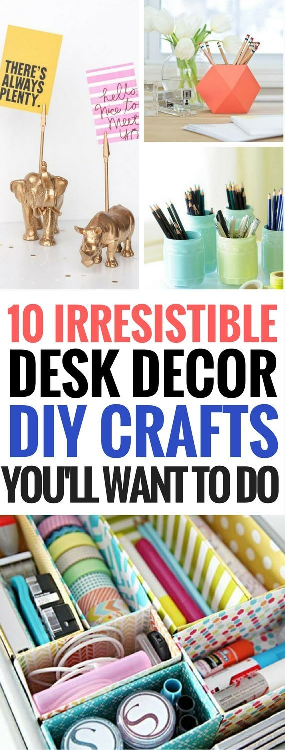 10 Easy And Cheap DIY Desk Decor Ideas for teens, students, work, office and so much more. You will be able to decorate your desk on a budget in a pretty and awesome way. Why stick with the boring stuff when you can do great diy crafts like these desk decoration ideas? I totally LOVE number 1, 5 and 8!